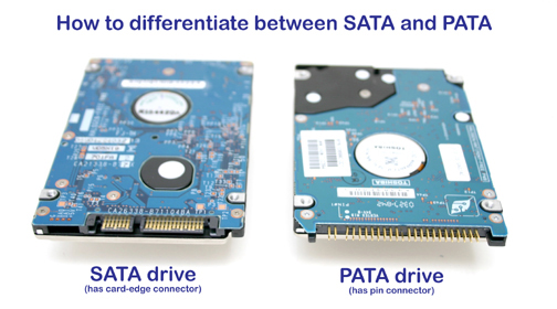 comparing a SATA hard drive with a PATA hard drive