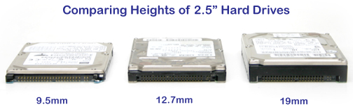 laptop hard drive height comparison between 9.5mm vs. 12.7mm vs. 19mm