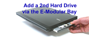 click here to add a 2nd hard drive via the DELL E-Modular Bay