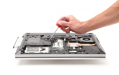 Use screw driver to pus optical drive out