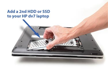 2nd HDD caddy being inserted in 2nd drive bay of HP dv7t -7xxx, -7000 notebook