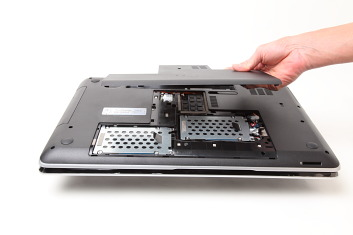 Secure caddy / bracket to HP dv7 laptop with screws, then re-attach bottom cover to laptop