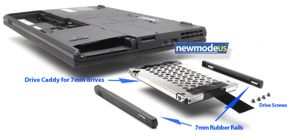 7mm Rubber Rails and Caddy Kit for Lenovo ThinkPad laptops